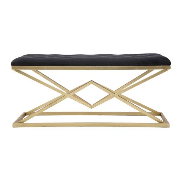 Ławka w czarno-złotym kolorze Mauro Ferretti Piramid, 100x40 cm