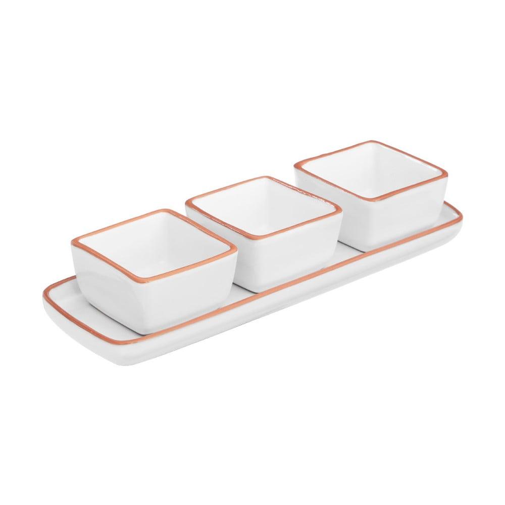 Set 3 misek a podnosu z glazované terakoty Premier Housewares Calisto