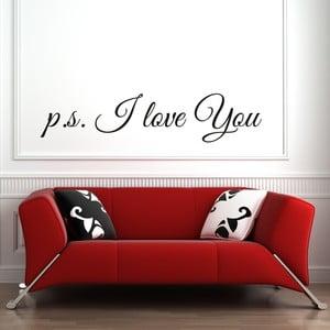 Samolepka na stěnu Wallvinil P.S. I Love You, černá