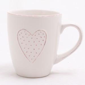 Bílý ručně zdobený keramický hrnek Dakls Heart, 300 ml