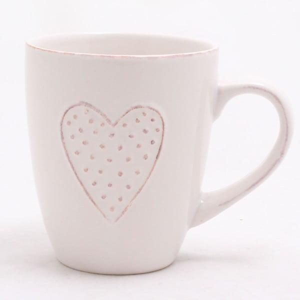 Cană ceramică decorată manual Dakls Heart, 300 ml, alb