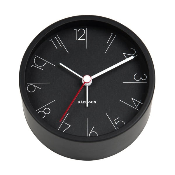 Ceas alarmă Karlsson Numbers, Ø 11 cm, negru