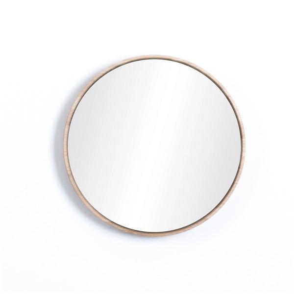 Nástěnné zrcadlo s rámem z masivního dubového dřeva Gazzda Look, ⌀32cm