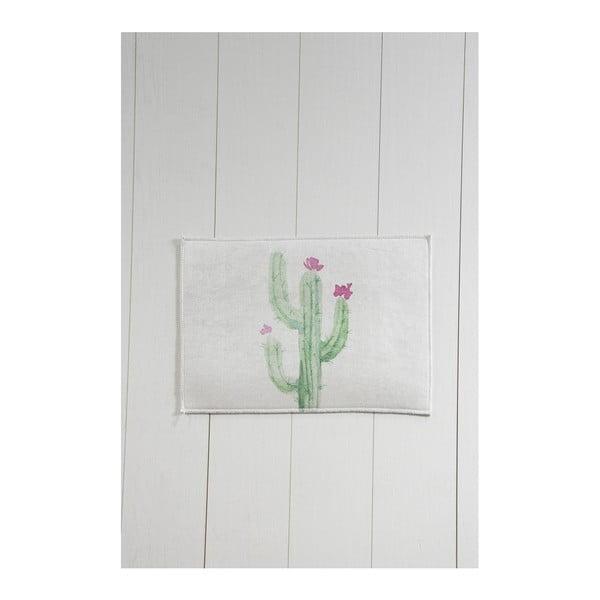 Biało-zielony dywanik łazienkowy Tropica Cactus III, 60x40 cm