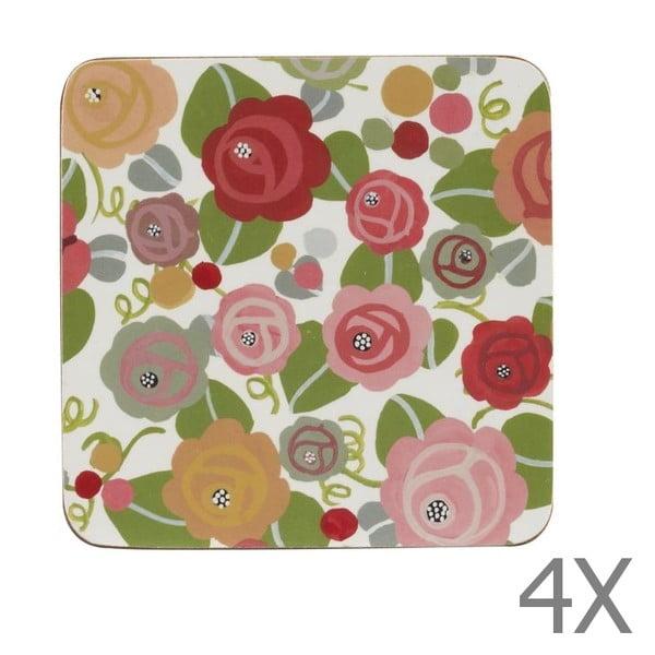 Sada 4 podtácků JD Floral Romance, 10x10 cm