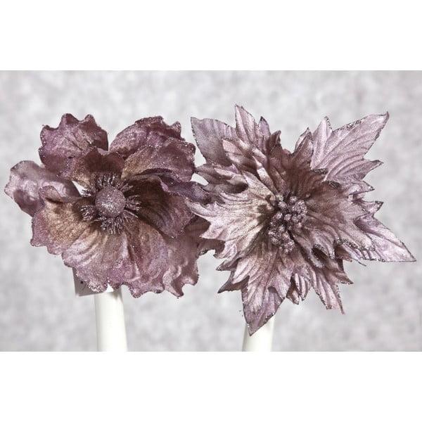 Sada 2 vianočných fialových plastových dekorácií v tvare kvetu DecoKing Vera