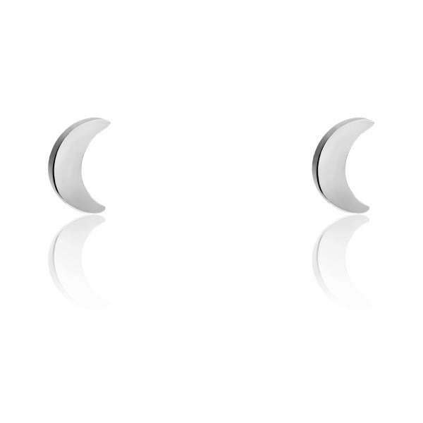 Ezüstszínű hold alakú rozsdamentes acél női fülbevaló - Emily Westwood