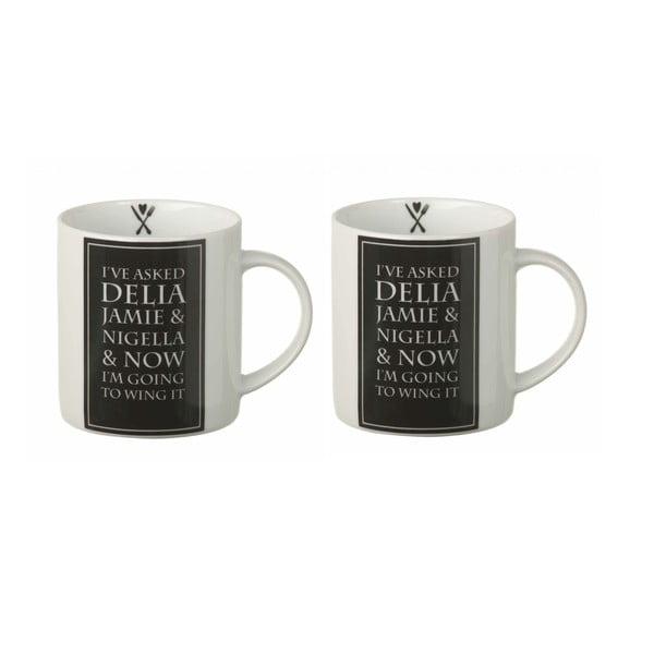 Set dvou hrníčků Delia, černá/bílá