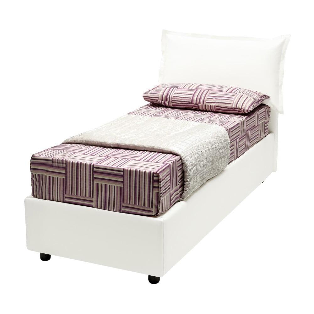 Bílá jednolůžková postel s potahem z eko kůže 13Casa Rose, 90 x 190 cm