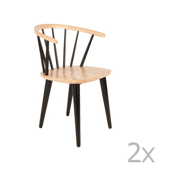 Sada 2 černých židlí z kaučukového dřeva White Label Gee