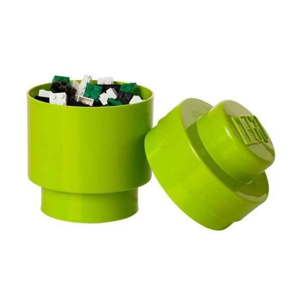 Úložný kulatý boxík, světle zelený