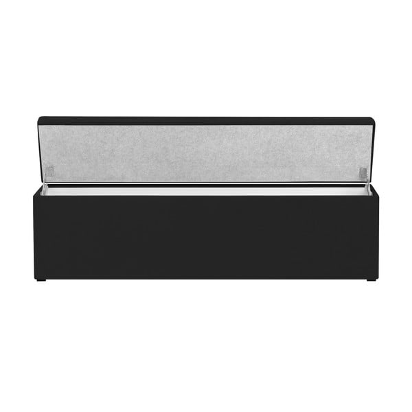 Černý otoman s úložným prostorem Cosmopolitan Design LA, 200x47cm