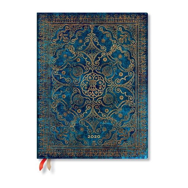Agendă pentru anul 2020, cu copertă tare Paperblanks Azure, 368 file, albastru