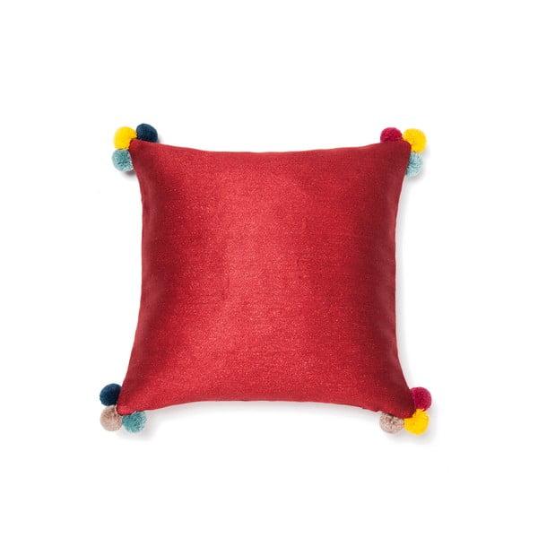 Červený polštář Casa di Bassi Pom Pom,40x40cm