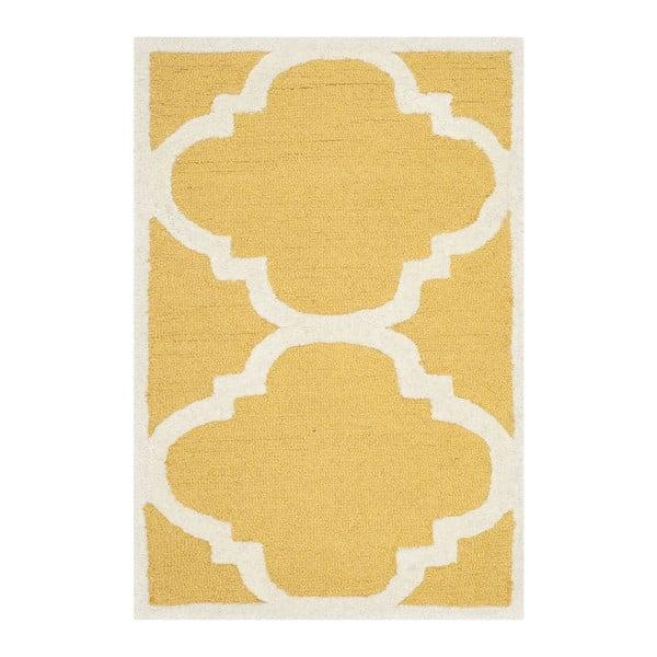 Vlněný koberec Clark Yellow, 60x91 cm