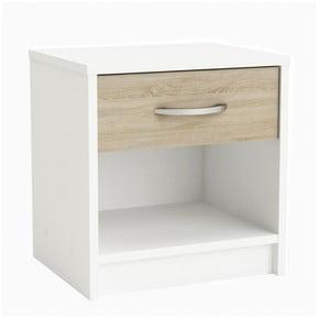 Bílý noční stolek se zásuvkou v dekoru světlého dubuIris
