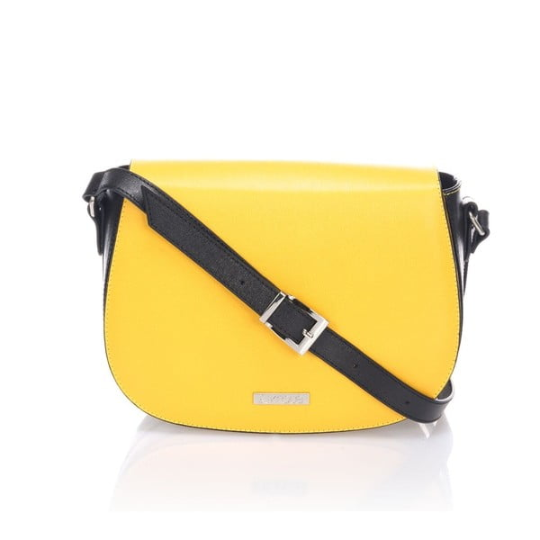 Kožená kabelka Krole Karina, žlutá/černá