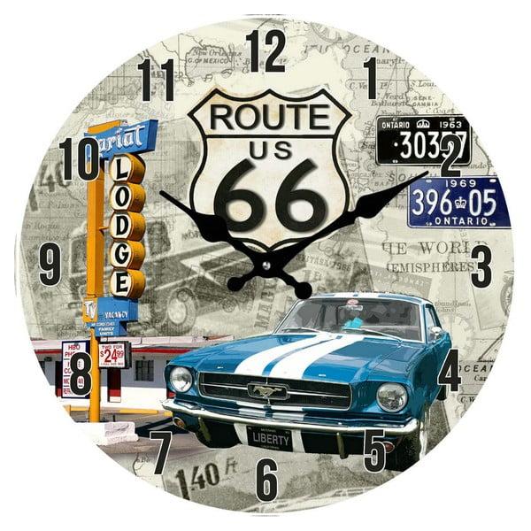 Skleněné hodiny Route 66, 38 cm