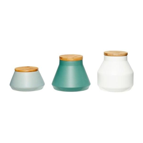 Set 3 recipiente din ceramică cu capac din bambus Hübsch Aino