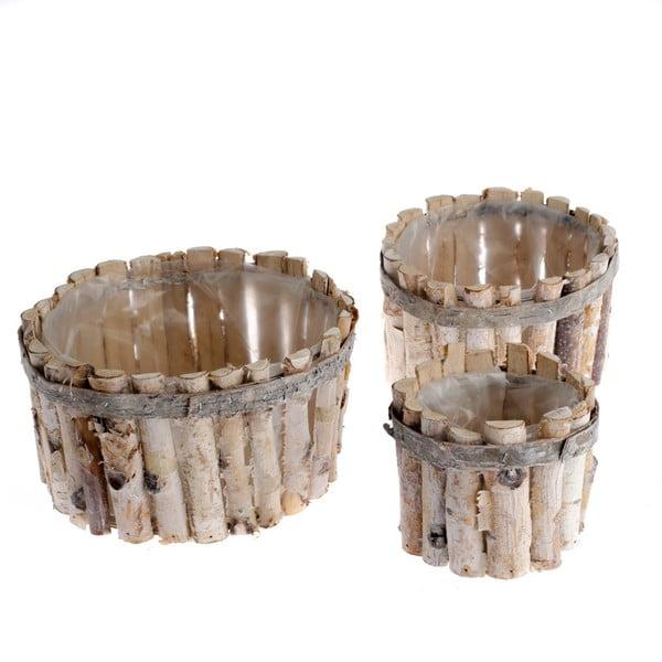 Sada 3 dřevěných košů Dakls Valley
