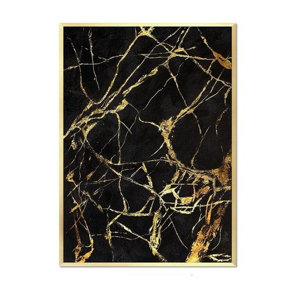 Nástěnný ručně malovaný obraz JohnsonStyle Gold & Black Marble Duro, 53 x 73 cm