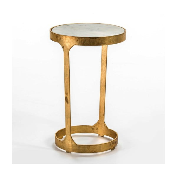 Odkládací stolek ve zlaté barvě s mramorovou deskou Thai Natura, ∅36cm