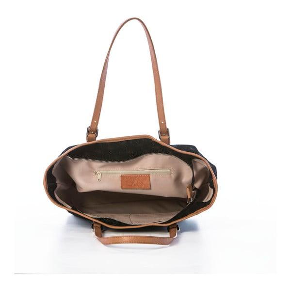 Černá kožená kabelka Federica Bassi Girandola