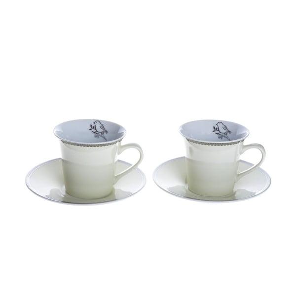 Porcelánové šálky na cappuccino s podšálky Krémová, 2 ks