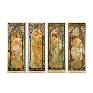 Set 4 tablouri Alfons Mucha - Times of the Day, 30x80 cm