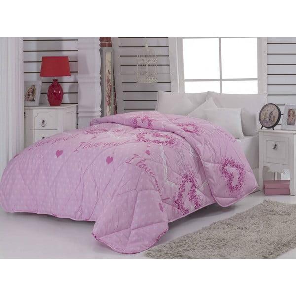 Prošívaný přehoz na dvojlůžko Suenso Pink, 195x215 cm