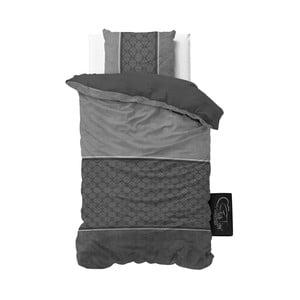 Antracitové povlečení z mikroperkálu Sleeptime Luxury Barock, 140 x 220 cm