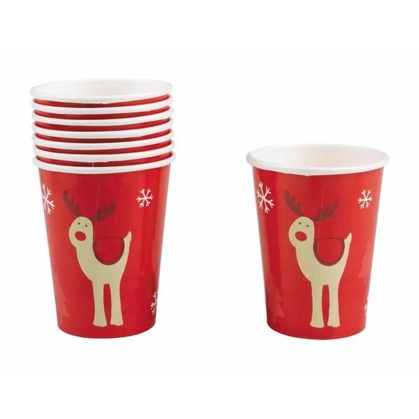 Sada 8 papierových pohárikov Neviti Rocking Rudolf