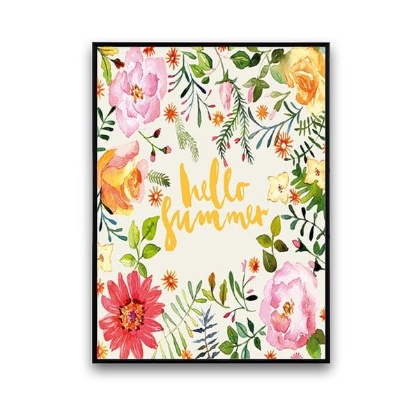 Plakát s květinami Hello Summer, bílé pozadí, 30 x 40 cm