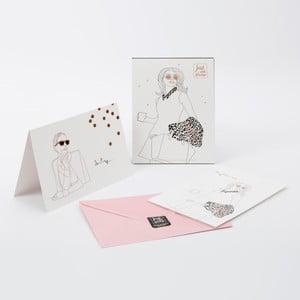 Sada 6 přání a růžových obálek GO Stationery Just Add Stamp Darling