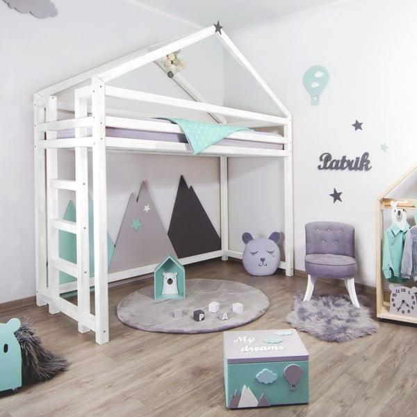 Bílá dřevěná vyvýšená dětská postel Benlemi Toppy,120x200cm