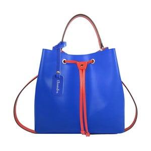Modrá kožená kabelka s oranžovým detailem Maison Bag Lexy