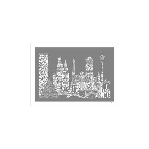 Plakát Las Vegas Grey&White, 50x70 cm