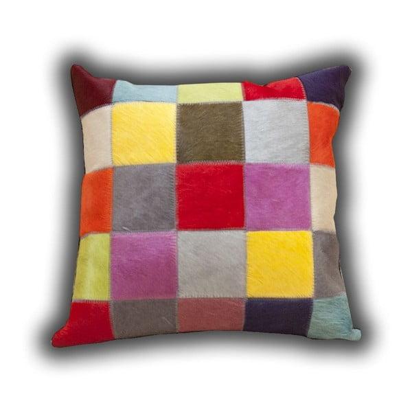 Polštář z pravé kůže Fancy Colors, 45x45 cm