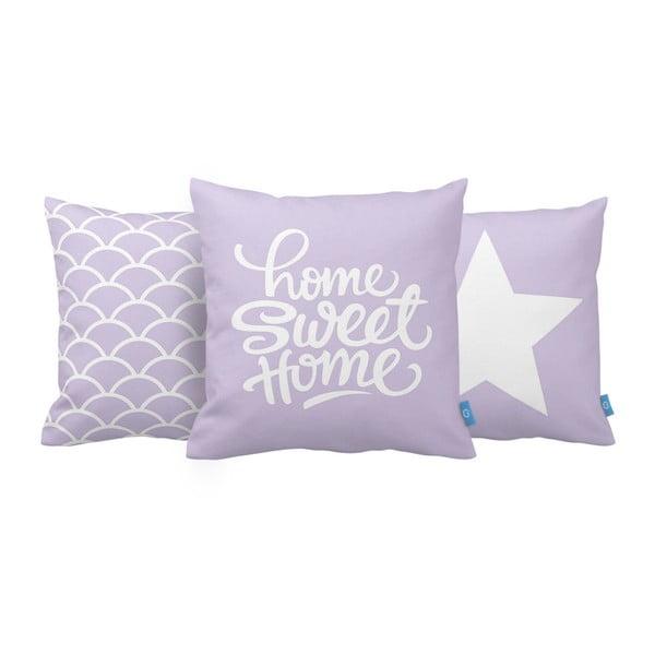 Sada 3 polštářů Home Sweet Home, 43x43 cm, fialová