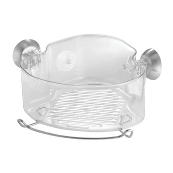 Coș transparent pentru colț cu ventuze iDesign Soap Shower de la iDesign