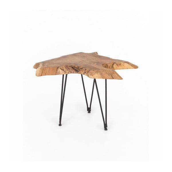 Stolik z blatem z drewna tekowego WOOX LIVING Natura, 50x50 cm