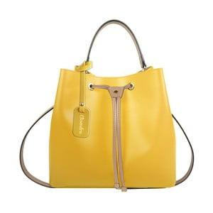 Žlutá kožená kabelka s béžovým detailem Maison Bag Lexy