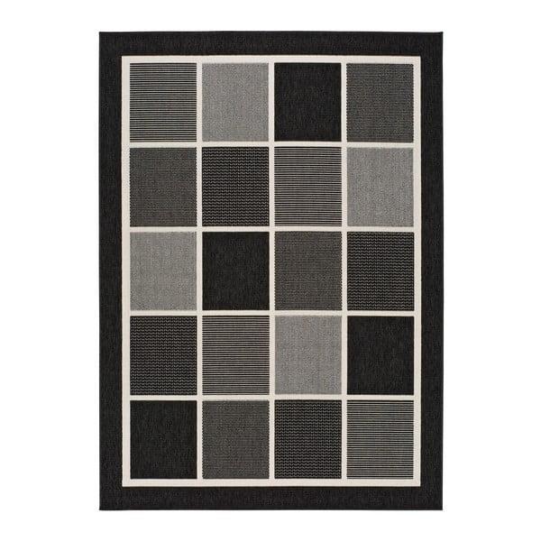 Černošedý venkovní koberec Universal Nicol Squares, 140x200cm