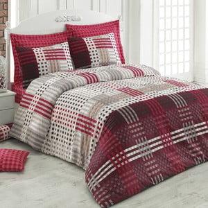 Lenjerie de pat din bumbac cu cearșaf Cameron, 200 x 220 cm, červené
