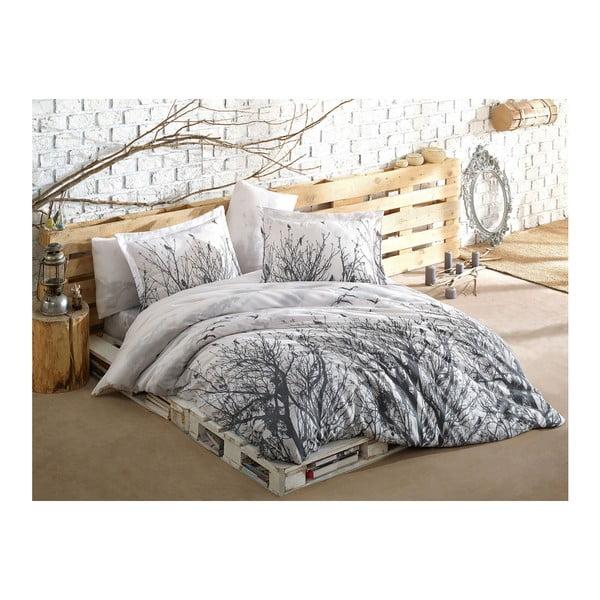 Lenjerie de pat cu cearșaf Peace grey, 200 x 220 cm