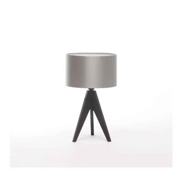 Stříbrná  stolní lampa 4room Artist, černá lakovaná bříza, Ø 25 cm