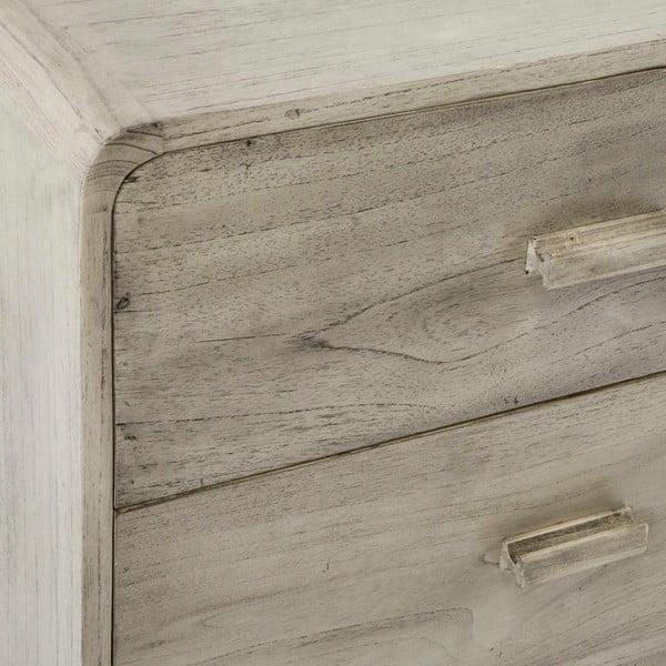 Šedá nízká komoda z lakovaného dřeva borovice Thai Natura Side, 200 x 75 cm