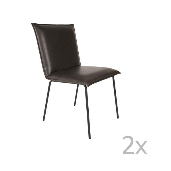Sada 2 černých židlí White Label Floke