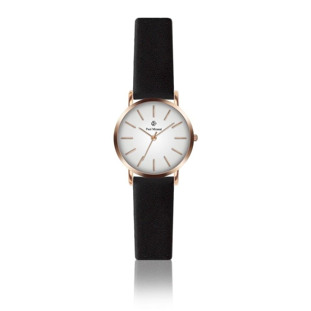 Dámské hodinky s černým koženým řemínkem Paul McNeal Soa, ⌀ 2,8 cm