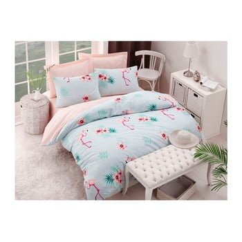 Lenjerie și cearșaf din amestec de bumbac pentru pat dublu Flamenco Mint, 200 x 220 cm imagine